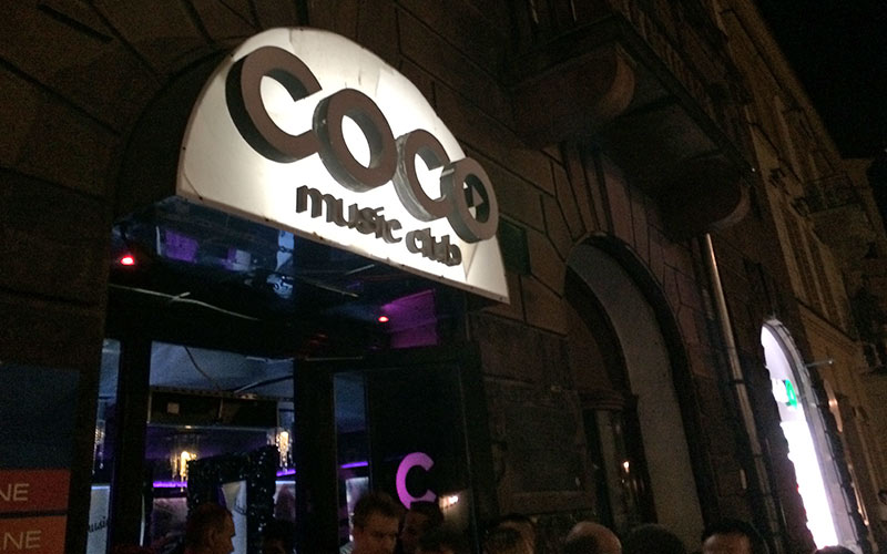 The exterior of Coco Music Club in Krakow