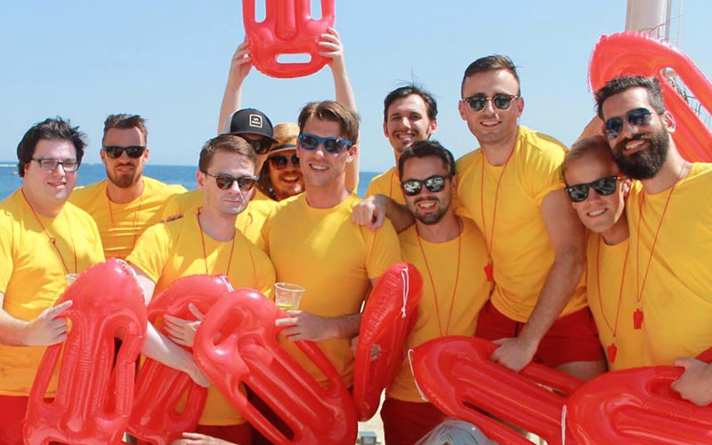 A group of lads wearing Baywatch costumes in Magaluf