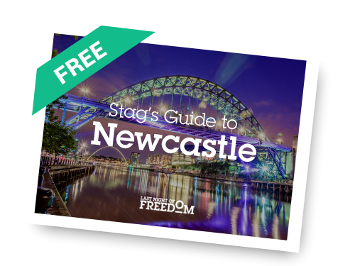 A banner showing Last Night of Freedom's free Stag's Guide to Newcastle, with The Tyne Bridge in the background