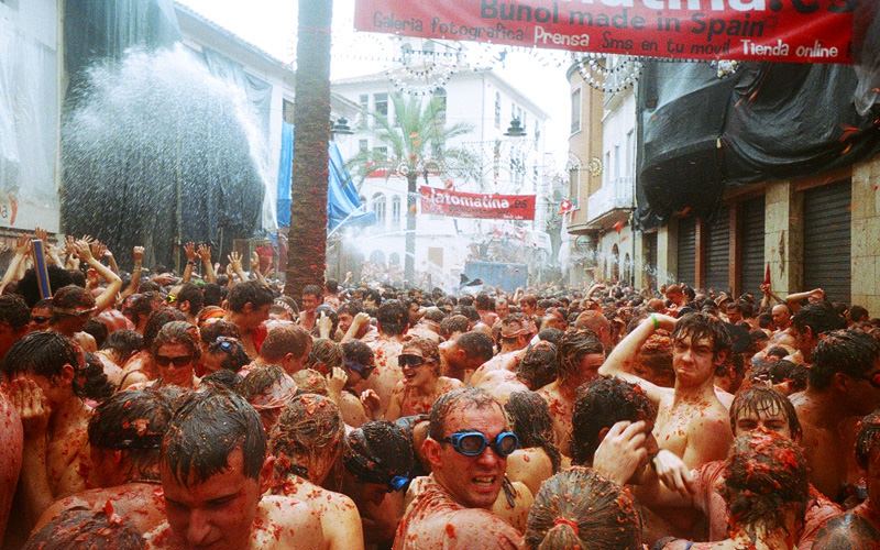 A group of people at La Tomatina Festival in Valencia