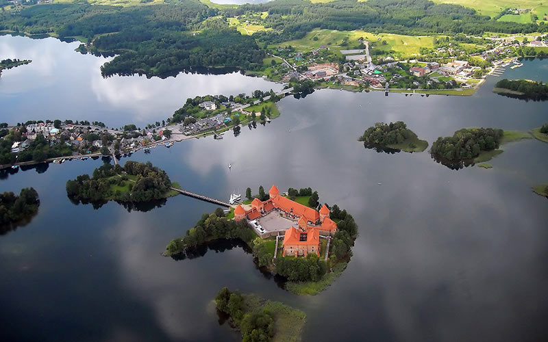 An aerial view of Trakai castle