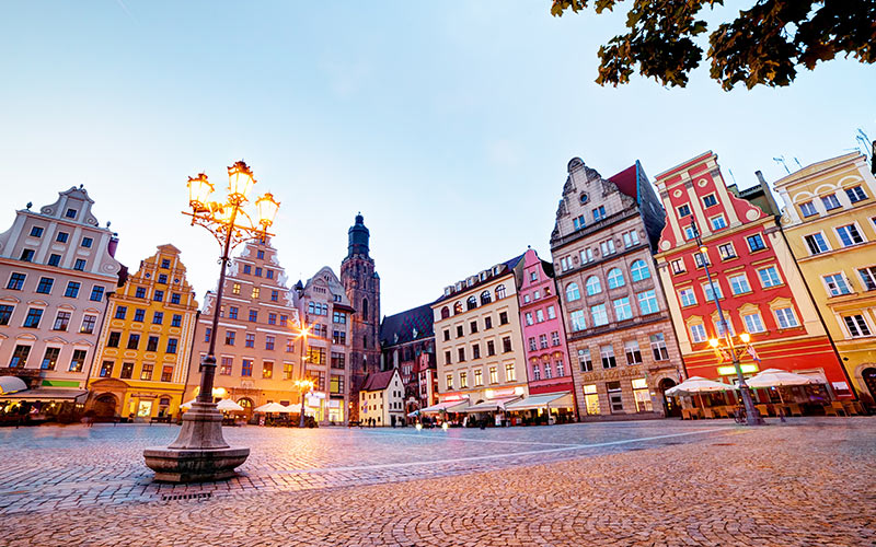 A market square in Wroclaw