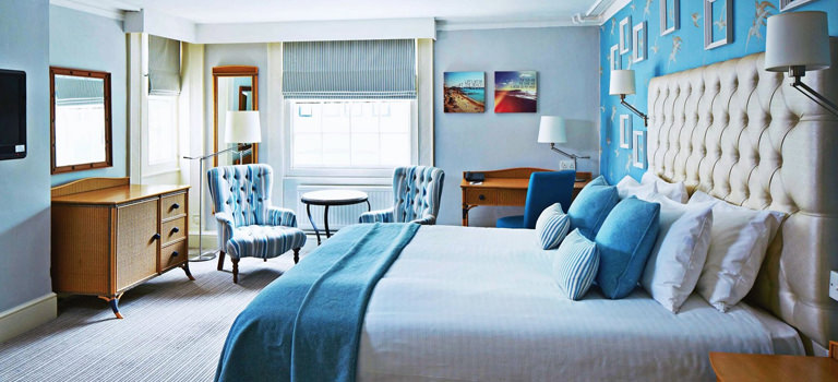 A hotel room themed blue in Brighton