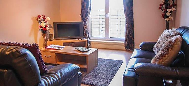 Aliving room area of an apartment in Edinburgh