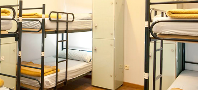 Some bunk beds in a Madrid hostel