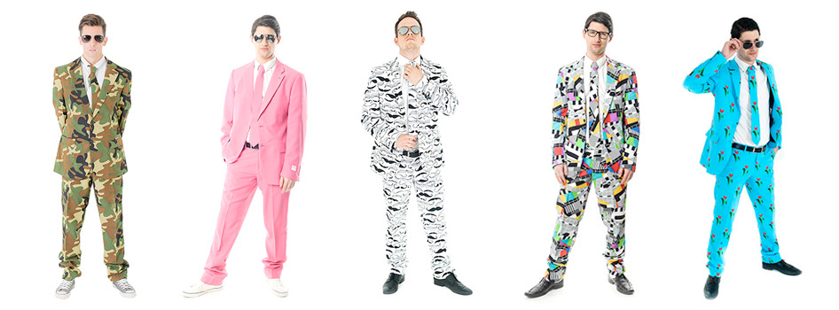 Five models all wearing different Opposuits