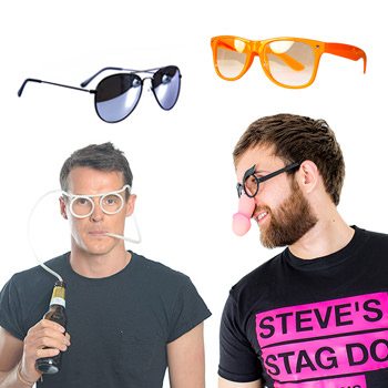 Two models wearing different pairs of glasses.