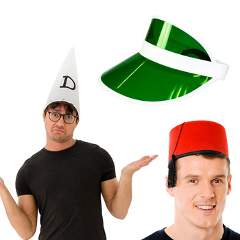Two models, one wearing a fez and one wearing a dunce hat.