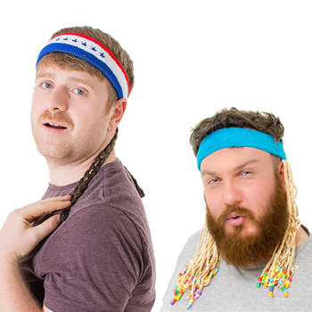 Two models wearing Mullets on headbands.