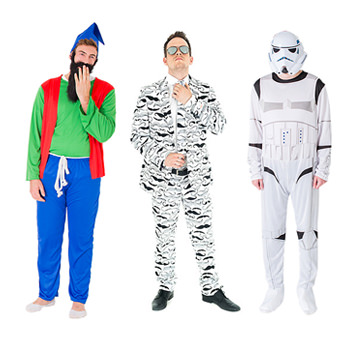 Three models wearing costumes, a gnome, storm trooper and an Opposuit.