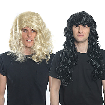Two guys wearing wigs, one blonde and one brunette.