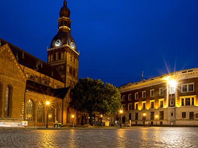 A view of Riga Old Town at night
