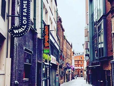 A view of Mathew Street in Liverpool