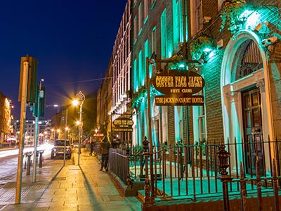The exterior of Copper Face Jacks, Dublin, at night