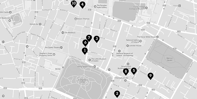 Black numbered points of bars on a grey map of Baggot Street to George Street in Dublin