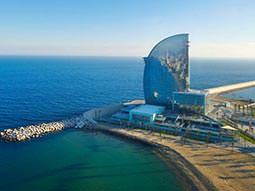 Exterior of W Hotel, Barcelona, along the coast