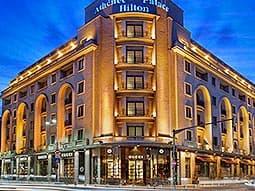 Exterior of Athenee Palace Hilton Bucharest at night