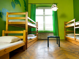 A hostel room with several bunk beds and green decoration