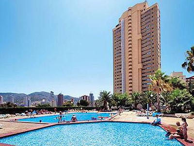 The outdoor swimming pools and exterior of the Paraiso 10 apartments