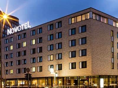 Exterior of Novotel Hamburg at night