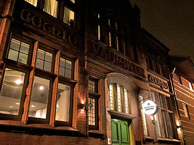 Exterior of Hatters Birmingham at night