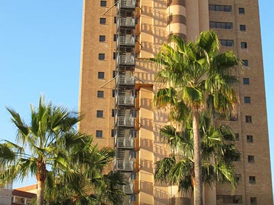 The exterior of the tower block style Vistamar Apartments