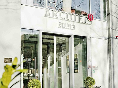 The exterior of Arcotel Rubin Hamburg