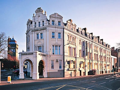 The exterior of the iconic Angel Hotel in Cardiff