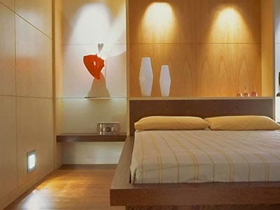 Close up of wooden bed
