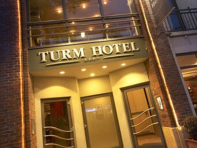 The exterior of the Turm Hotel