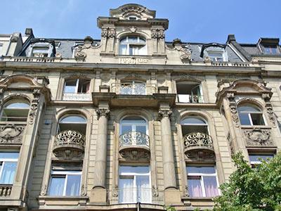 The exterior of the Frankfurt Hostel