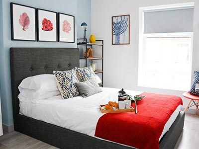 A guest bedroom at Rethink Living Apartments Cardiff
