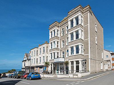 The exterior of Reef Island hotel in Newquay