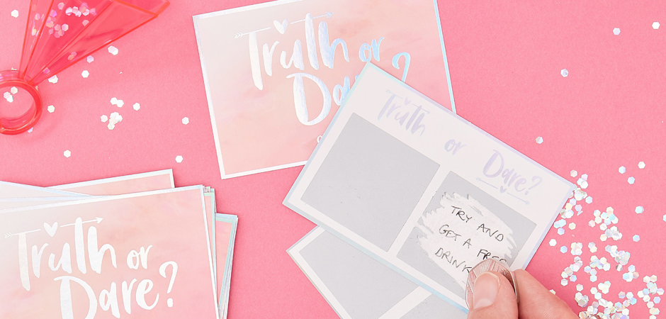 Hen party truth or dare cards with shiny, foil text