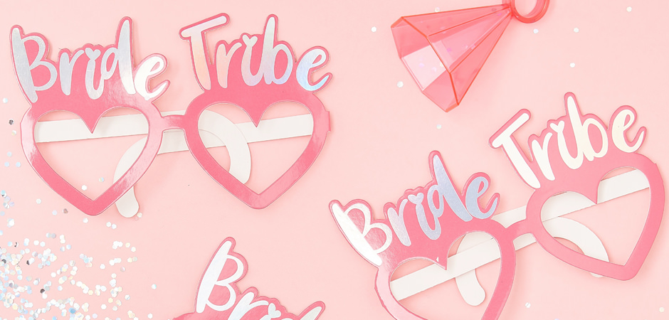 An view of three Bride Tribe heart shaped glasses