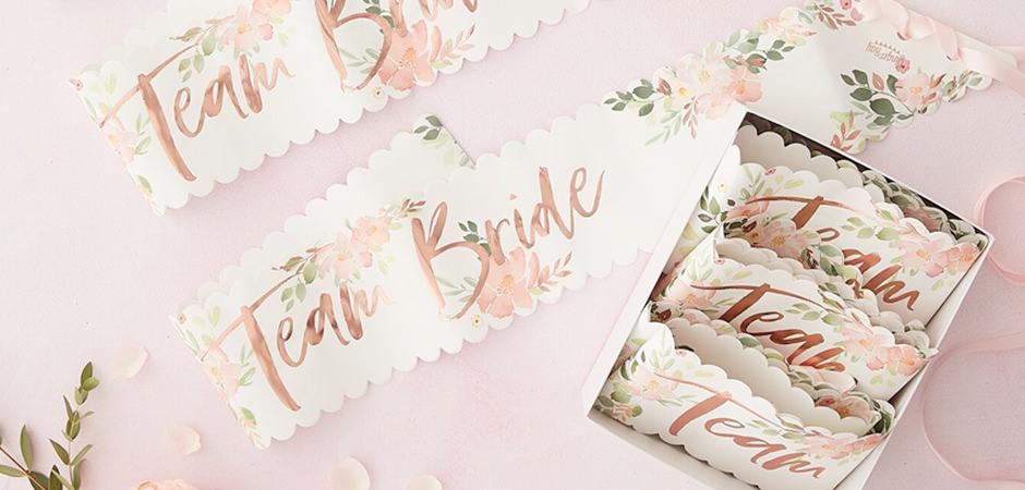 A set of three 'Team Bride' sashes