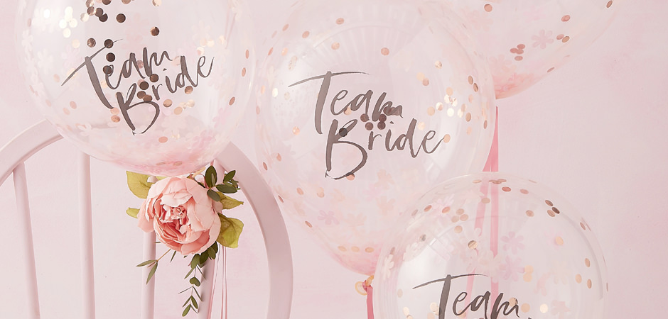 Team Bride balloons filled with confetti