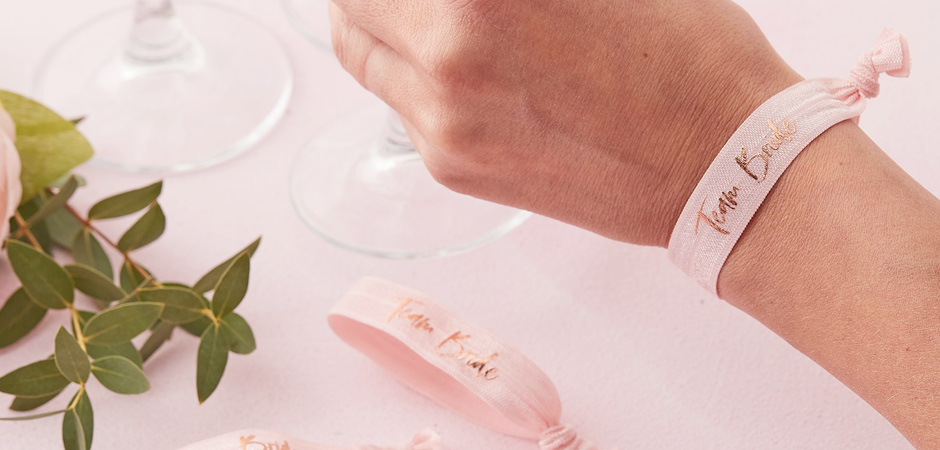 Pink Team Bride wrist bands