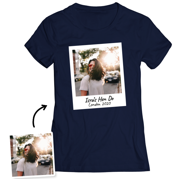 Hen Do Photo T-shirt – Photo, Text, Location on Navy T-shirt