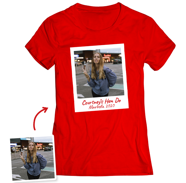 Hen Do Photo T-shirt – Photo, Text, Location on Red T-shirt