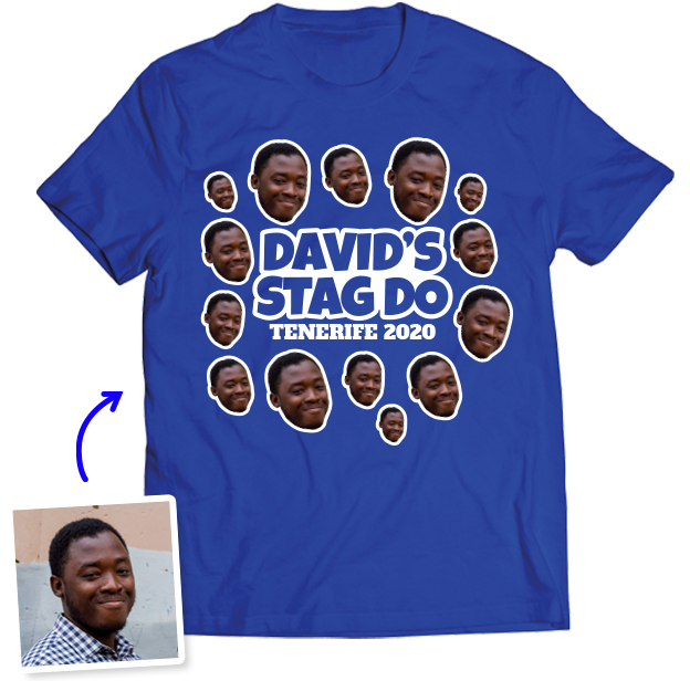 Stag Do Photo T-shirt – Photo, Text, Location on Yellow T-shirt