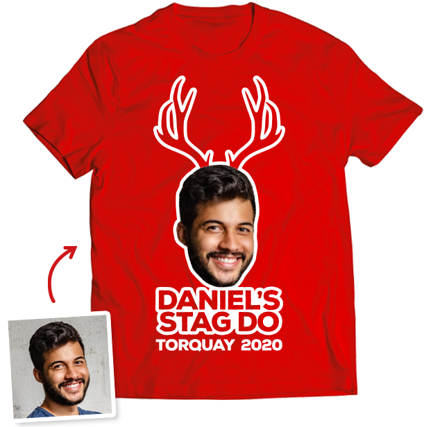 Stag Do Photo T-shirt – Photo, Text, Location on Pink T-shirt
