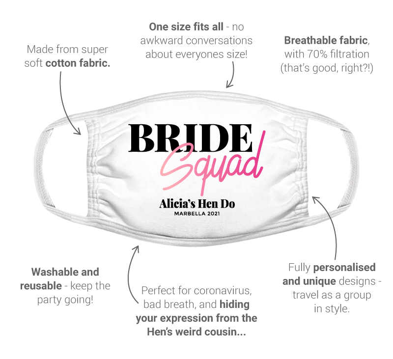 LNOF's hen do facemask features – front view, soft white cotton, 70% filtration, one sizr fits all, fully personalised with your design