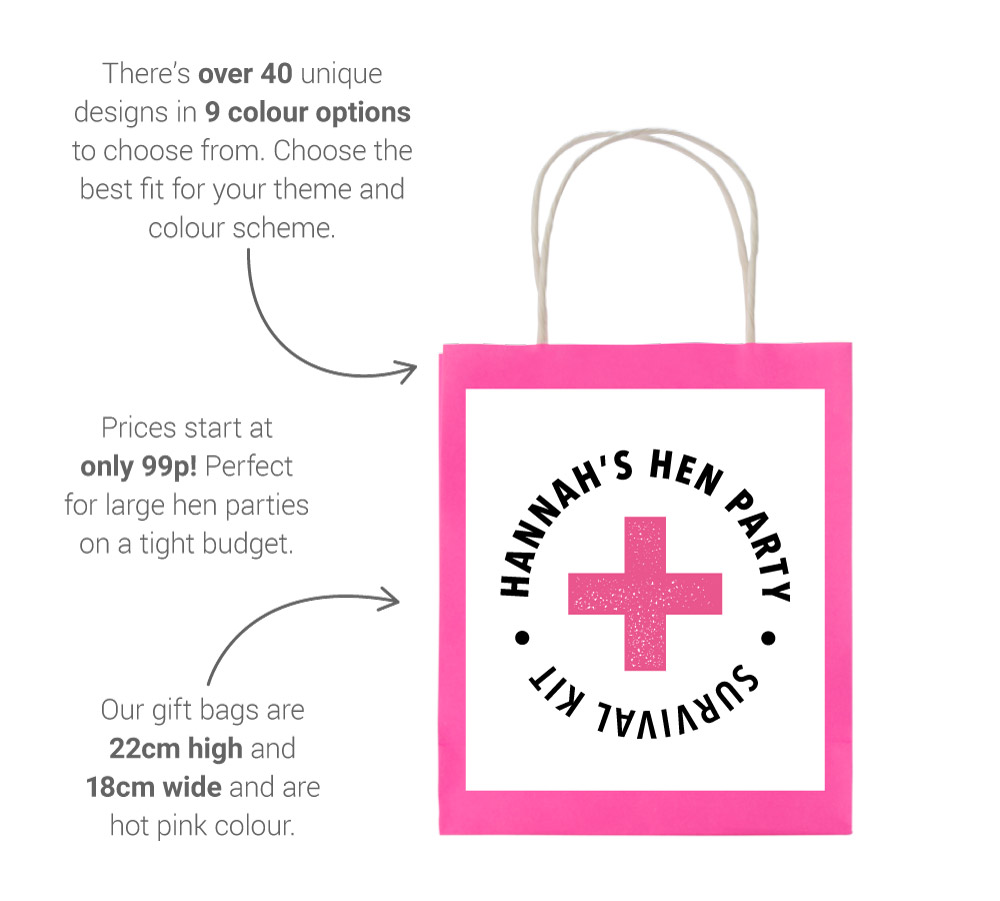 About our hen gift bags image - showing dimensions, price and construction details