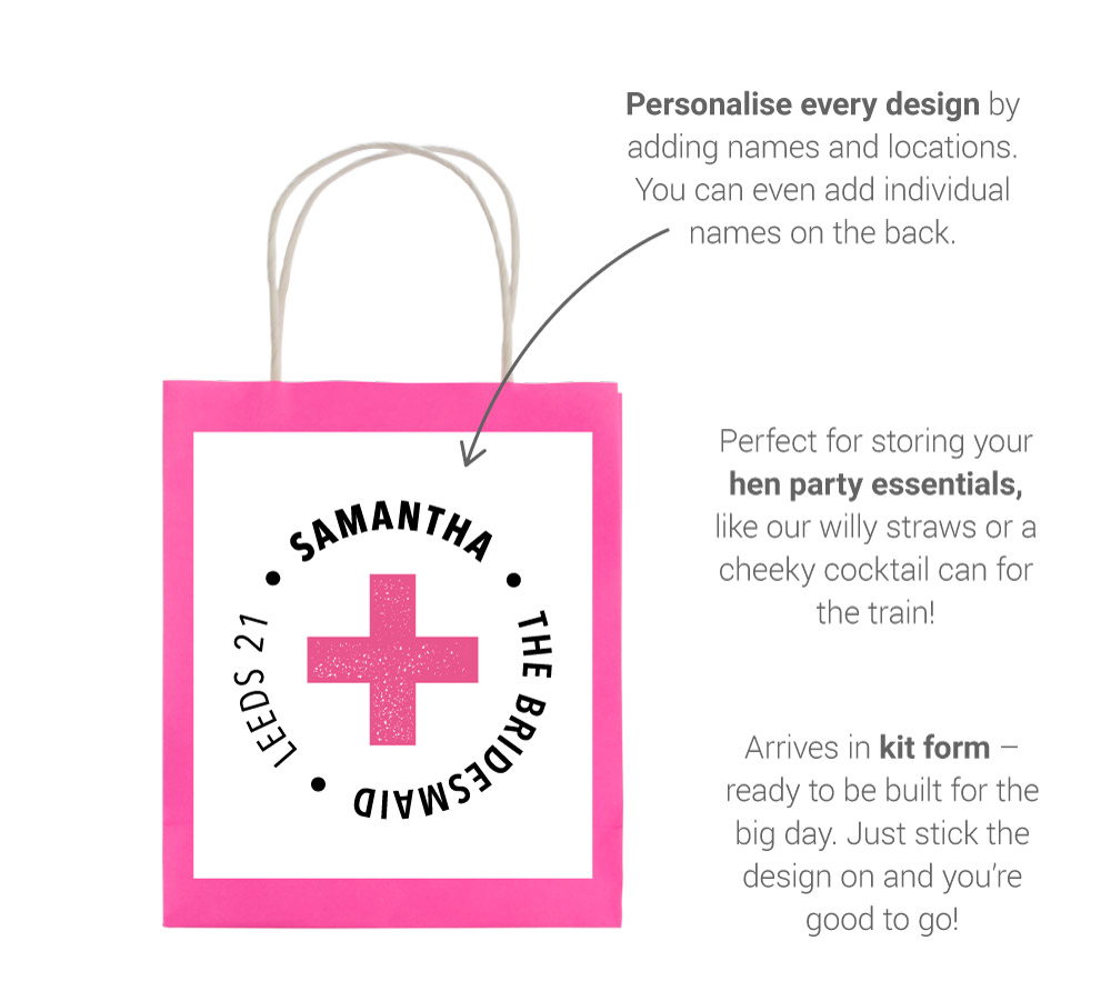 About our hen gift bags image - showing design, personalisation and usage details