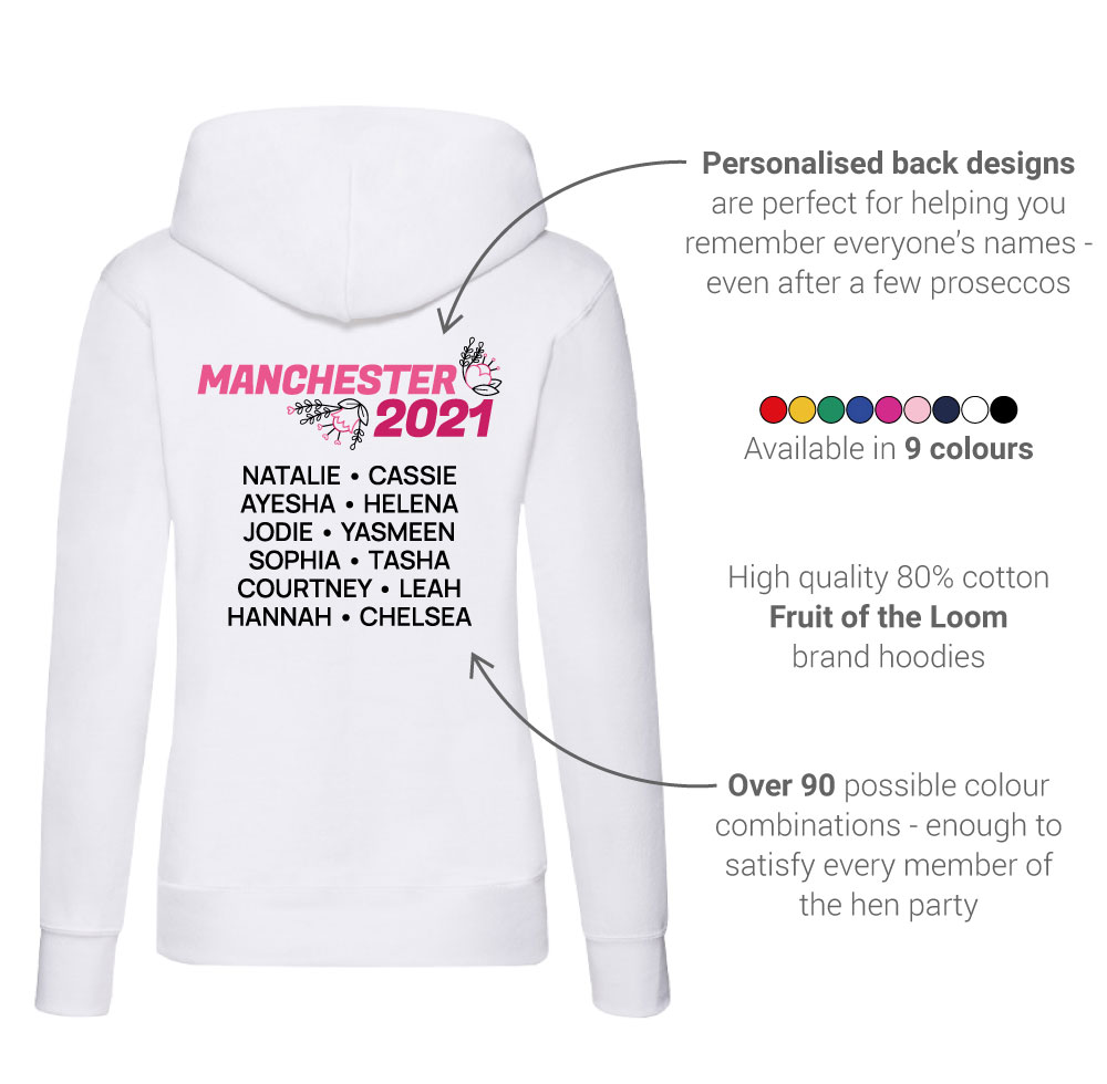 LNOF's hen do hoodie features – back view – back print number and names, fruit of the loom, many colourways