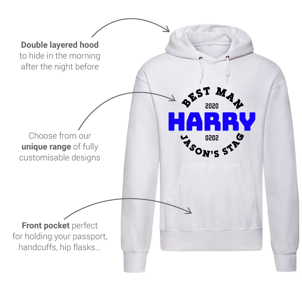 LNOF's stag do hoodie features – front view - hood, front-print design and pocket