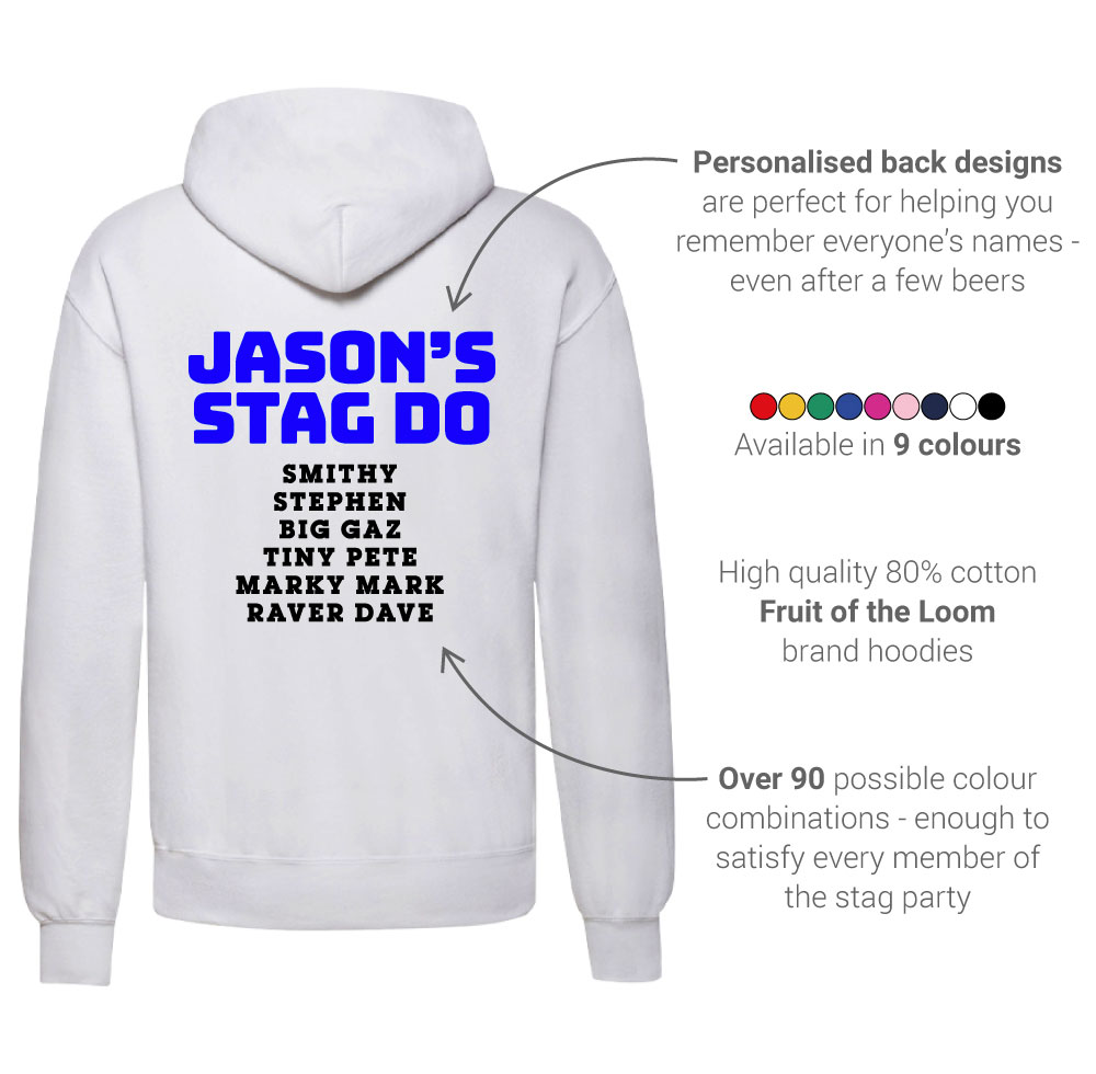 LNOF's stag do hoodie features – back view – back print number and names, fruit of the loom, many colourways