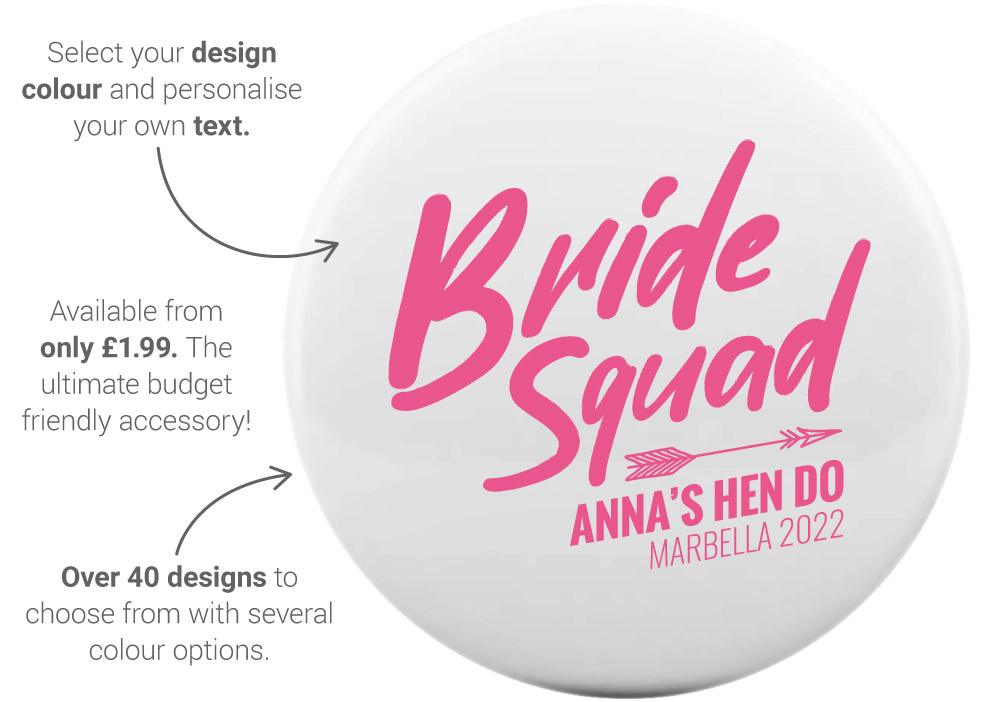 Our hen night mirror features - front view: 75mm diameter, quality metal, personalise with your own text. This example shows Bride Squad design