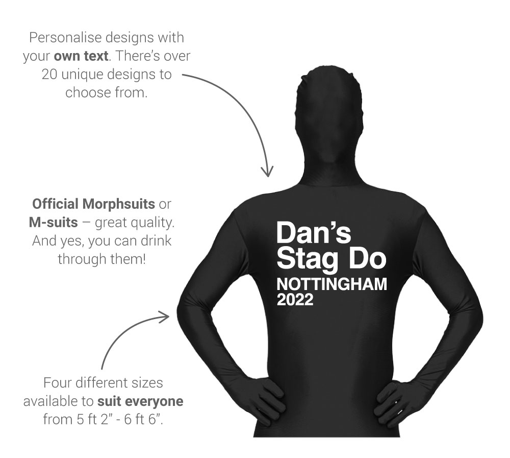 About our personalised morphsuits - front view: personalise with your own text, genuine morphsuit, sizes from small to XXL